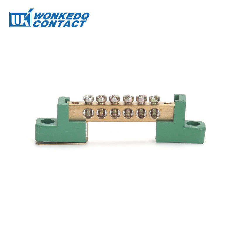 Green Terminal Bus Bar Screw Connection Electrical Ground Terminal Block With Holder